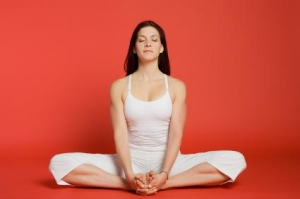 relaxed. yoga pose woman
